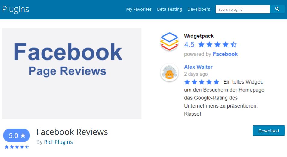 Facebook Reviews wordpress plugin