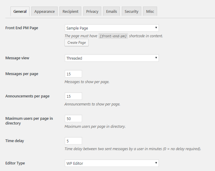 Front End PM plugin general settings