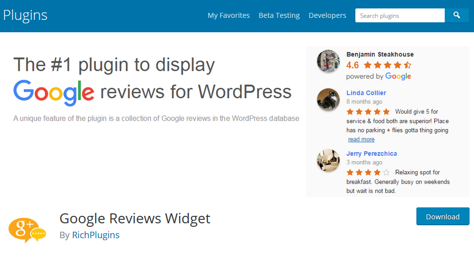 Google Reviews Widget plugin