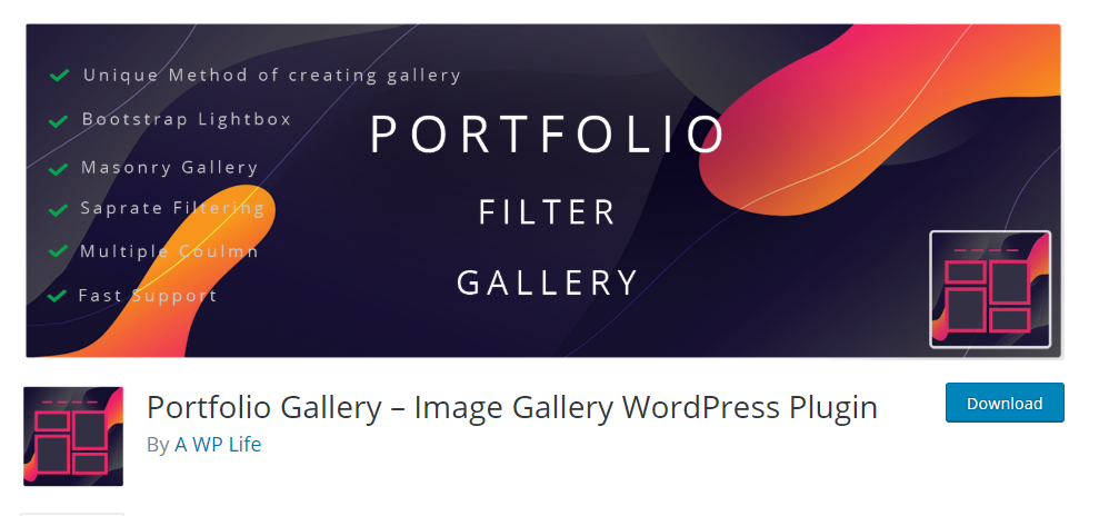 Portfolio Gallery Image Gallery WordPress Plugin