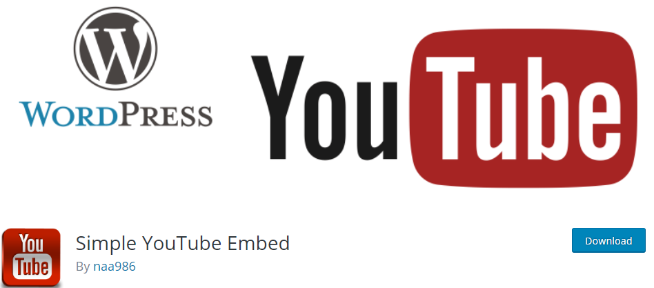 Simple YouTube Embed WordPress Youtube plugin