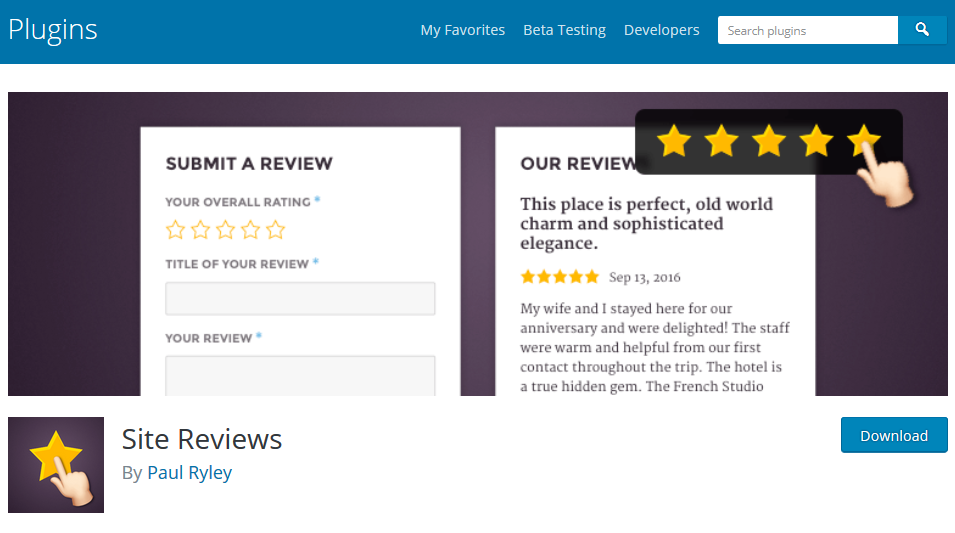 Site Reviews wordpress plugin