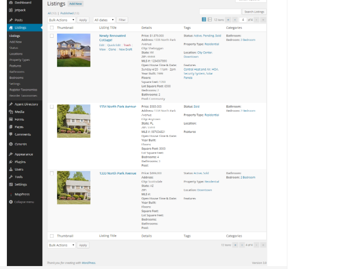 View of Property Listing Type