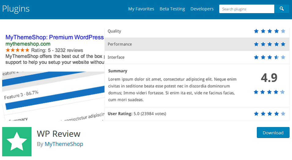 WP Review plugin