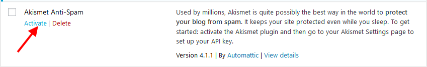 Activate Akismet WordPress plugin