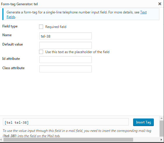 Add telephone number field in contact form