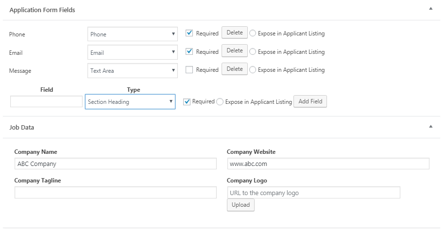 Add the application form fields
