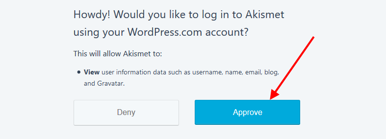 Log in to Akismet