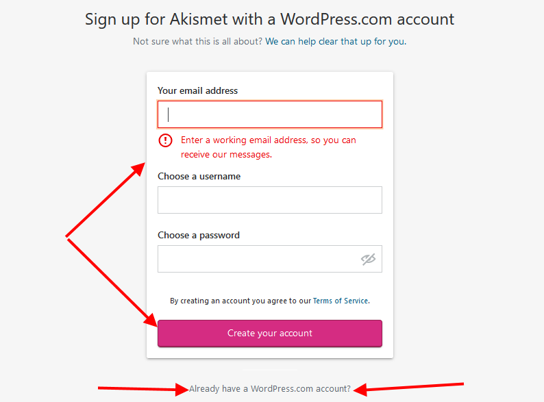 Sign up for Akismet with a wordpress.com Account