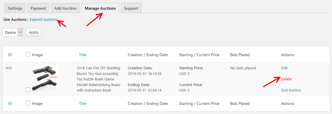 Manage auction settings