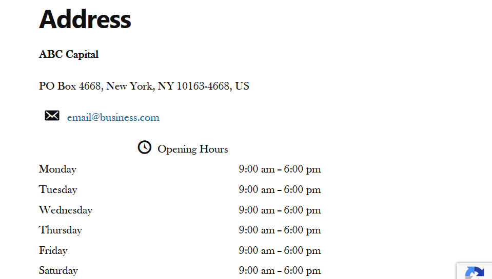 View business address in front end