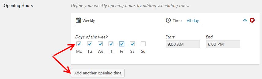 Business Profile plugin schedule