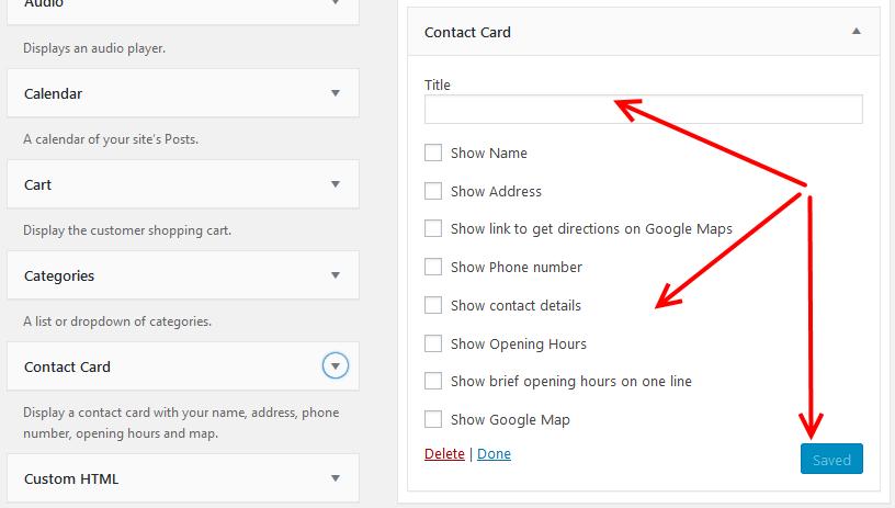 Business Profile plugin widget settings