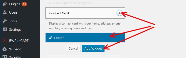 Business Profile plugin widget