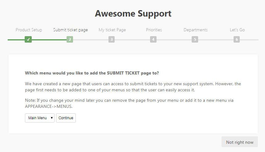 Create Submit Ticket page
