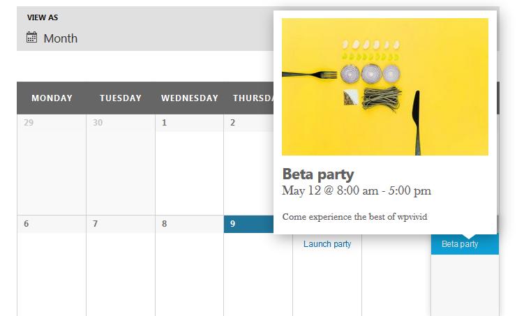 Events calendar tooltip