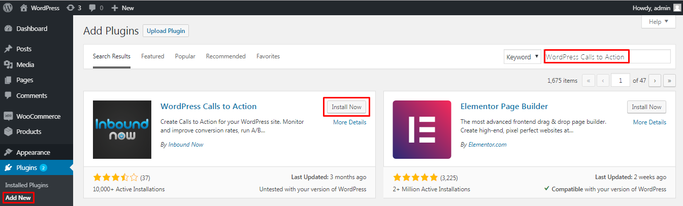 Install WordPress Calls to Action plugin