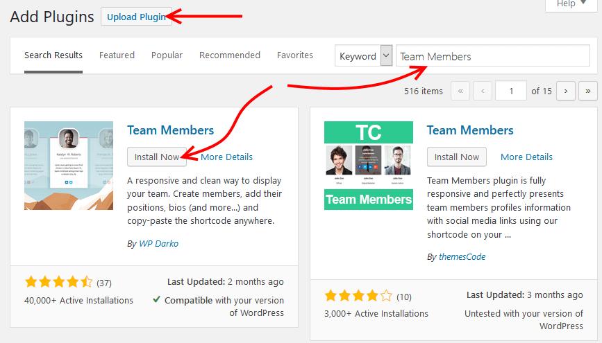 Install Team Members plugin
