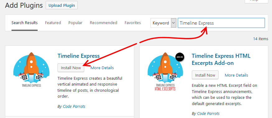 Install timeline express WordPress plugin
