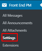 Open Front End PM plugin settings