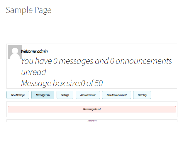 Private message system sample page