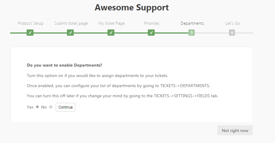 Set the support departments