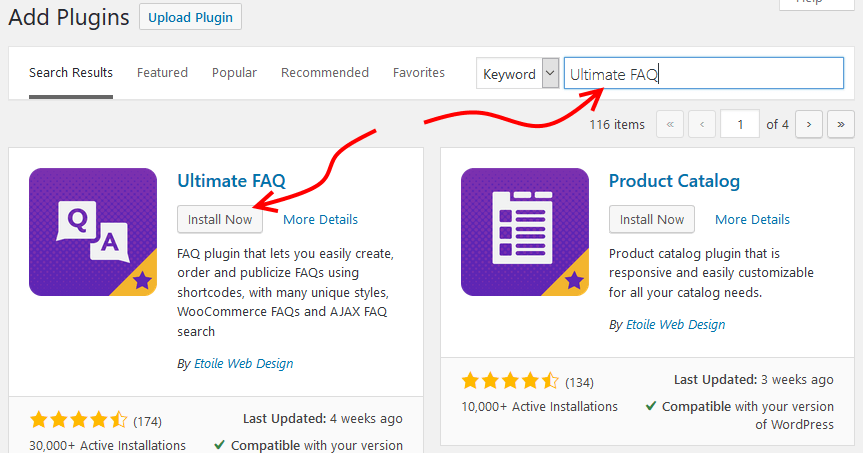Installing Ultimate FAQ plugin