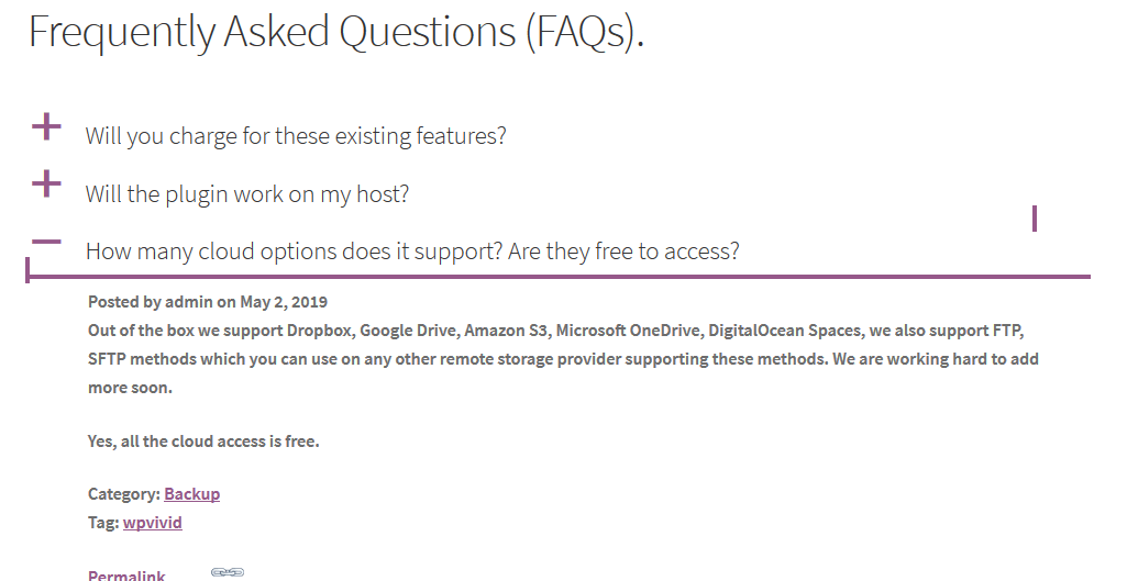 View the FAQ page in front end.