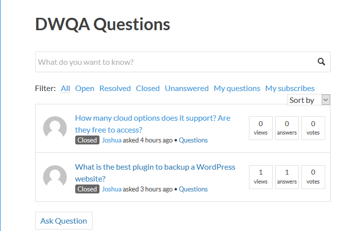 View questions in front end