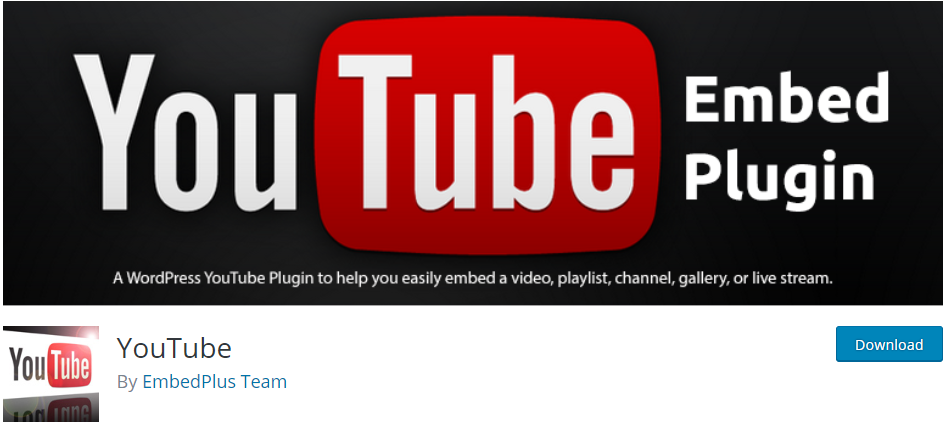 WordPress Youtube plugin by EmbedPlus Team