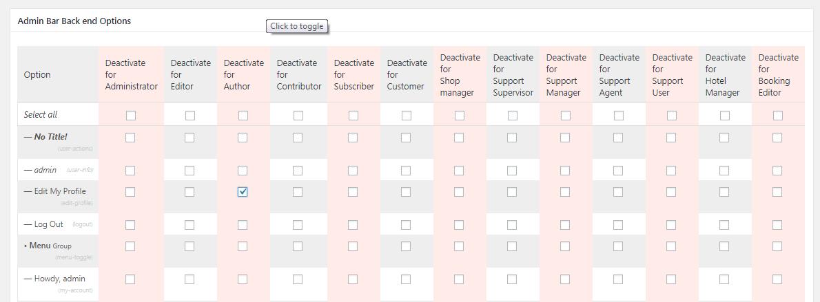 Admin bar back end options