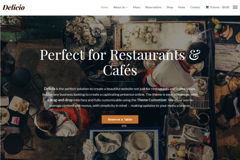 Delicio WordPress Restaurant Theme
