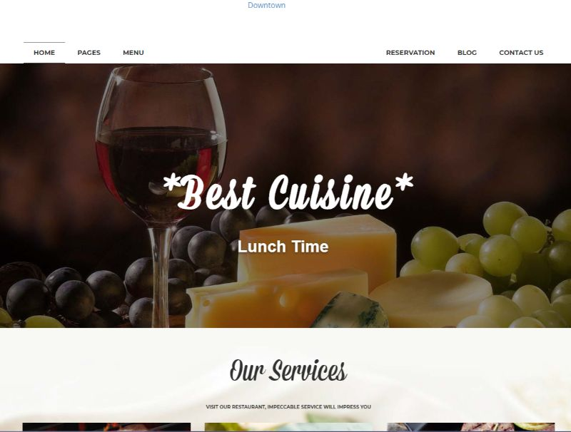Downtown WordPress Restaurant Theme