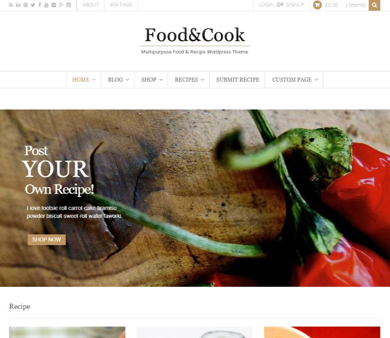 Food Cook WordPress food theme