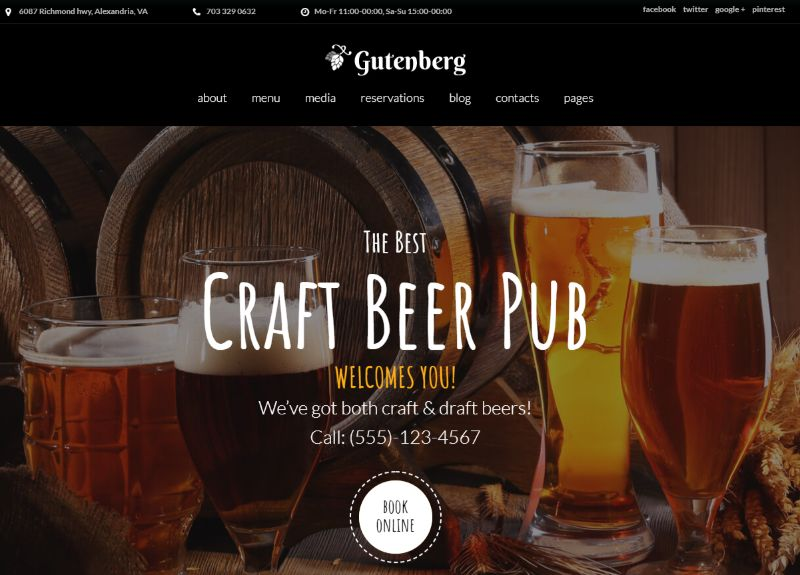 Gutenberg WordPress Restaurant Theme