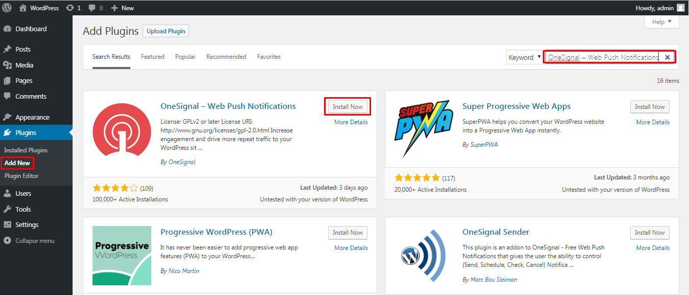 Installing OneSignal Web Push Notifications WP Plugin