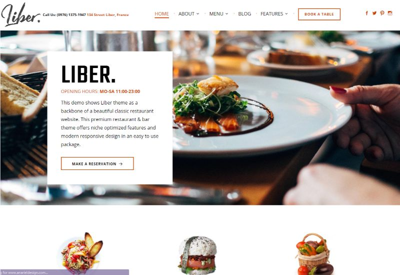 Liber WordPress Restaurant Theme