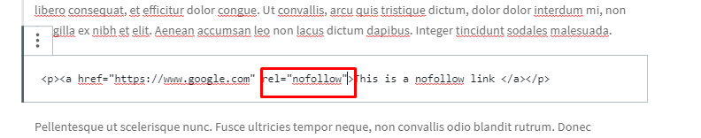 Link with nofollow tag