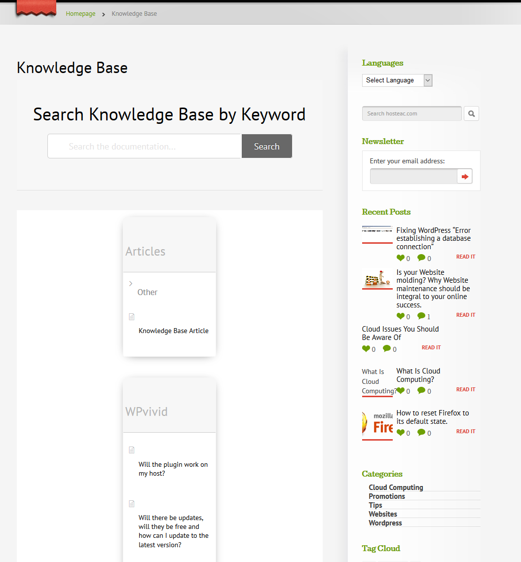 New Knowledge Base page