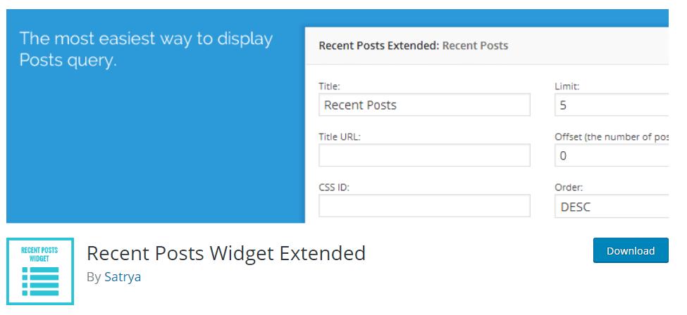 Recent Posts Widget Extended WP Plugin