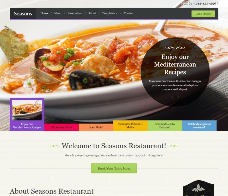 Seasons WordPress Restaurant Theme
