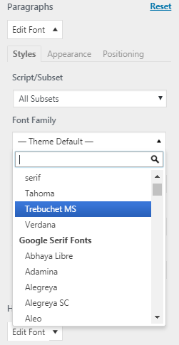 Selecting a font