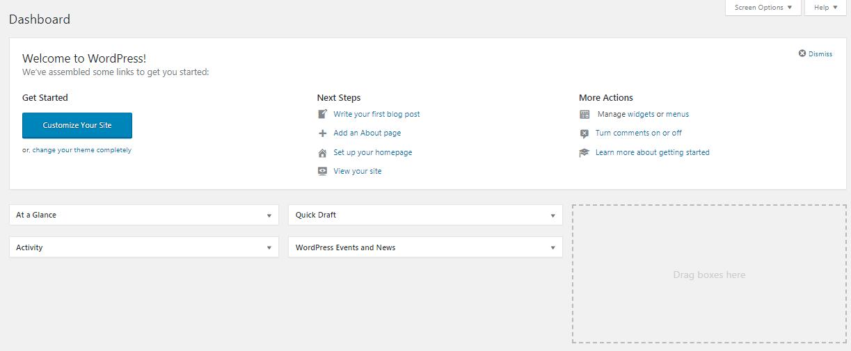 Wordpress Dahsboard
