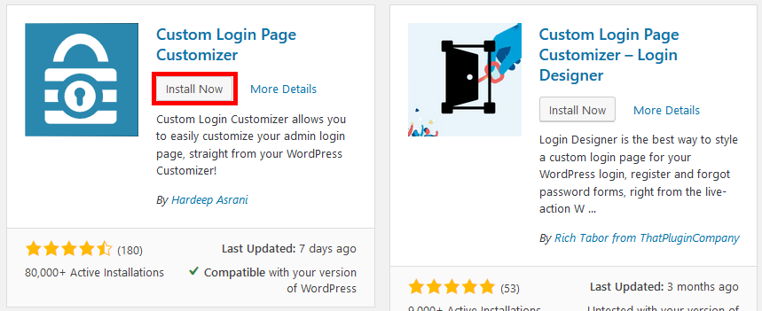 Custom login plugin install