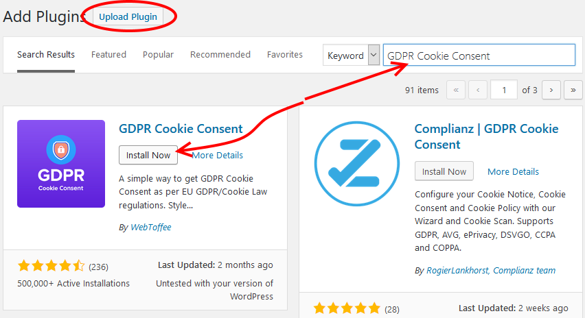 Install GDPR Cookie Consent WP Plugin