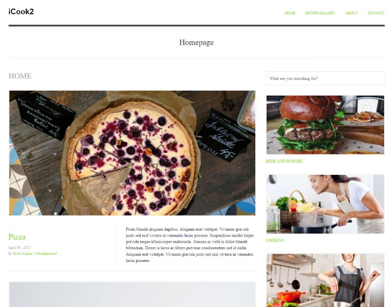 iCook WordPress food theme