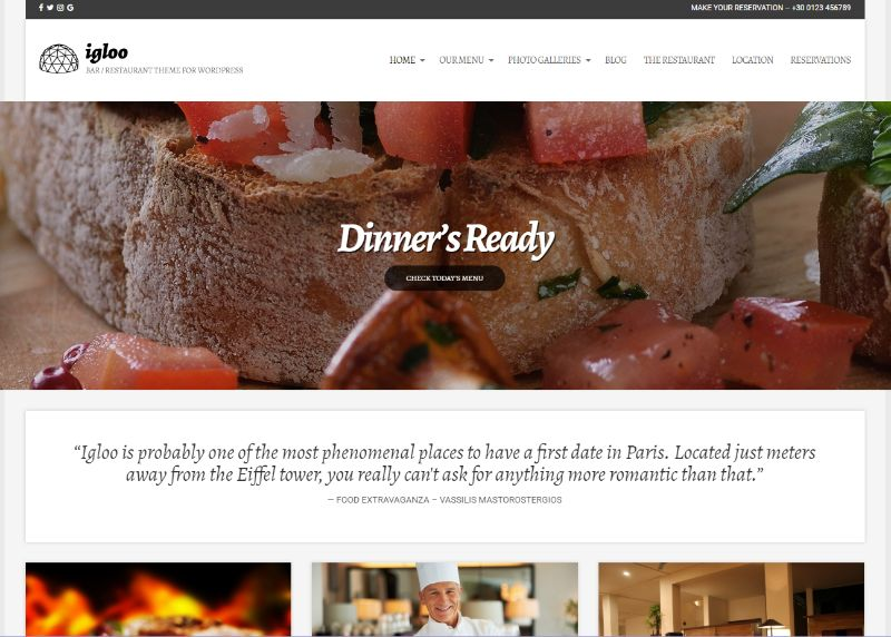 igloo WordPress Restaurant Theme