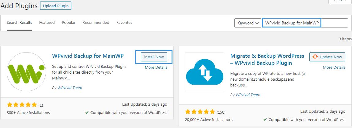 Install WPvivid backup for MainWP on main site