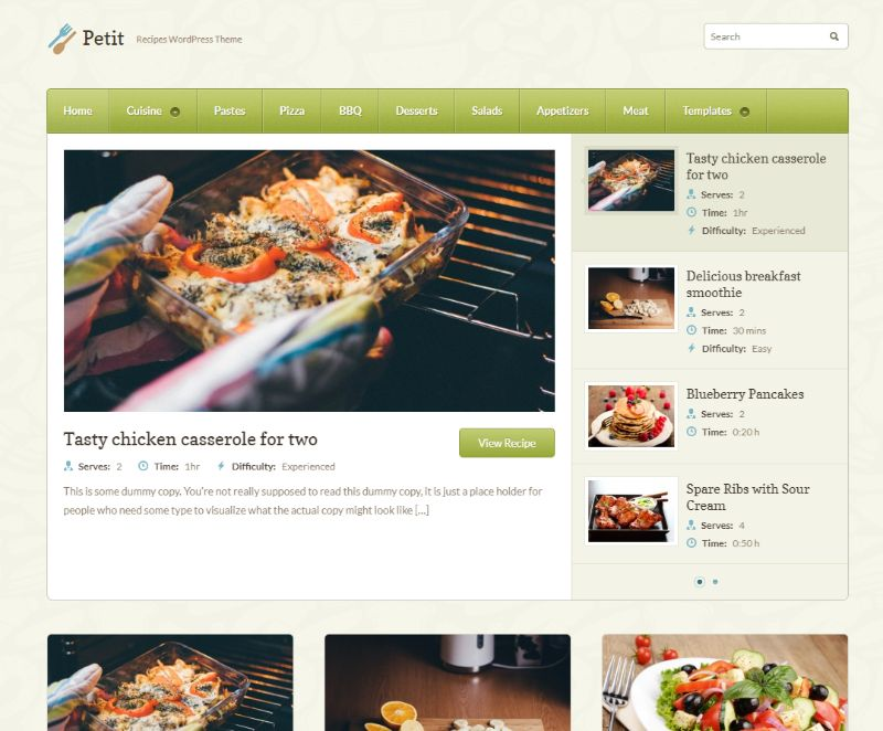 Petit wordpress food theme