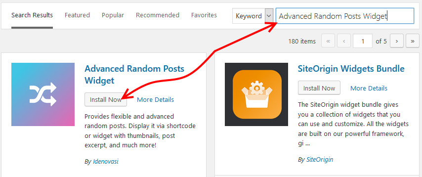 Install Advanced Random Posts Widget WP plugin